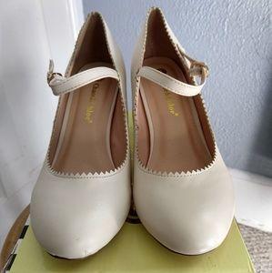 Cream Retro Pump Heels - Size 9
